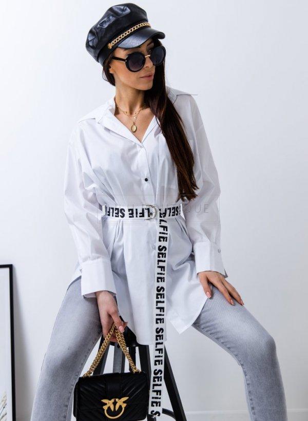 Koszula długa oversize Selfie biała