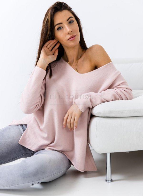 Sweter oversize Drancy pastelowy róż