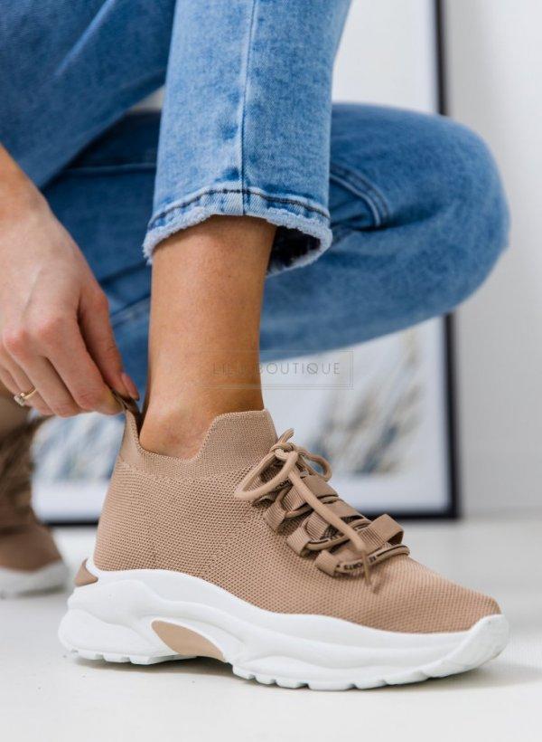 Sportowe buty na grubej podeszwie Rodan beige