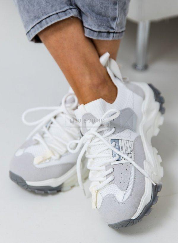 Sportowe buty na grubej podeszwie Lyon white/grey