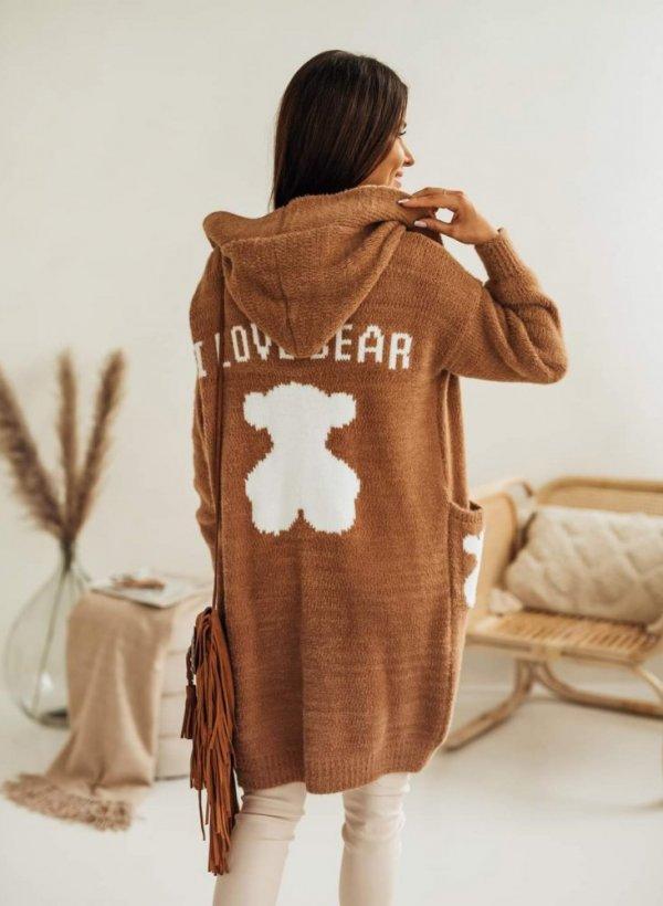 Kardigan z kapturem mega ciepły Love Bear camel