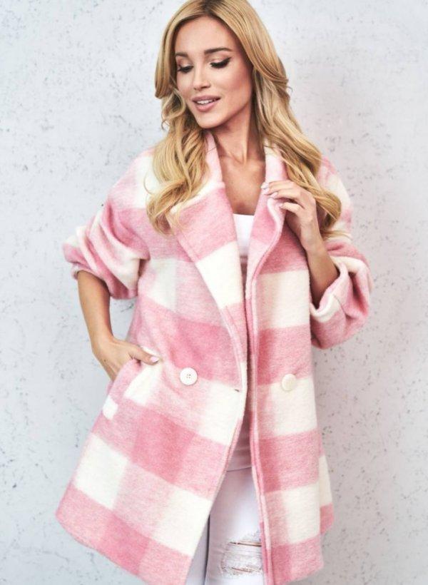 Płaszcz dwurzędowy z wełną pink/cream
