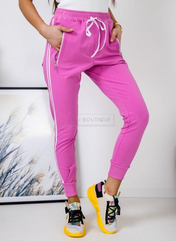 Spodnie dresowe z lampasami pink