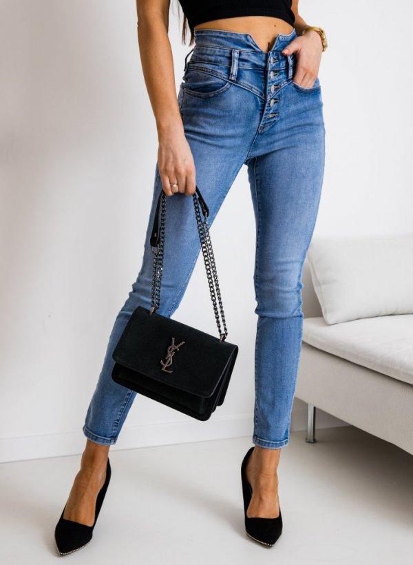 Spodnie z wysokim stanem Prato blue jeans