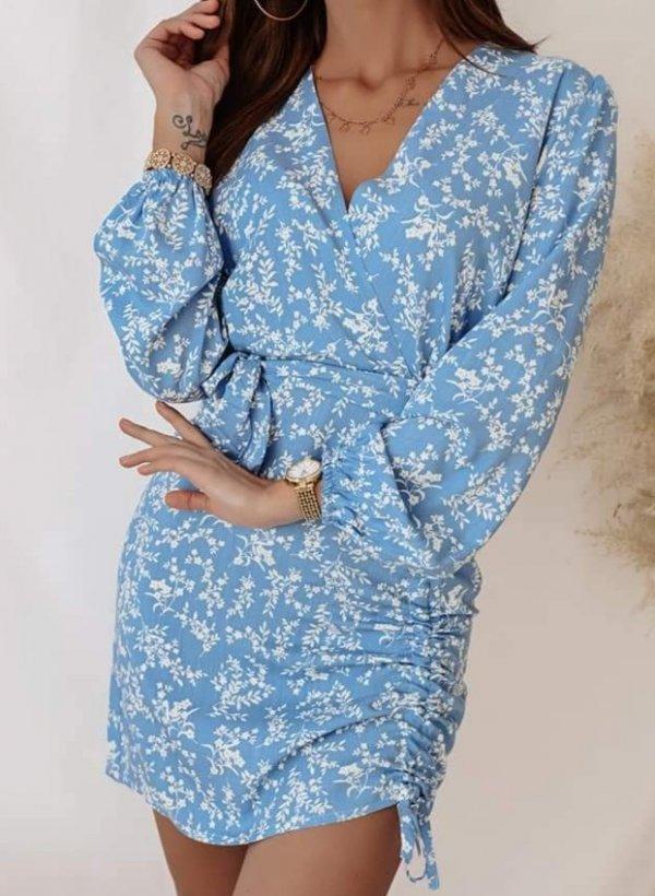 Sukienka Lorrent w kwiaty blue
