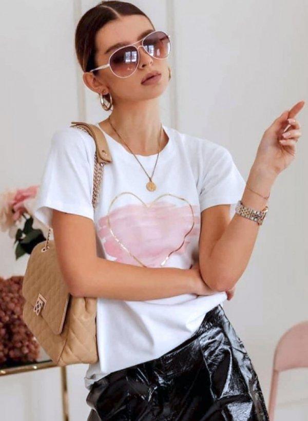 T-shirt Lovely Heart biała