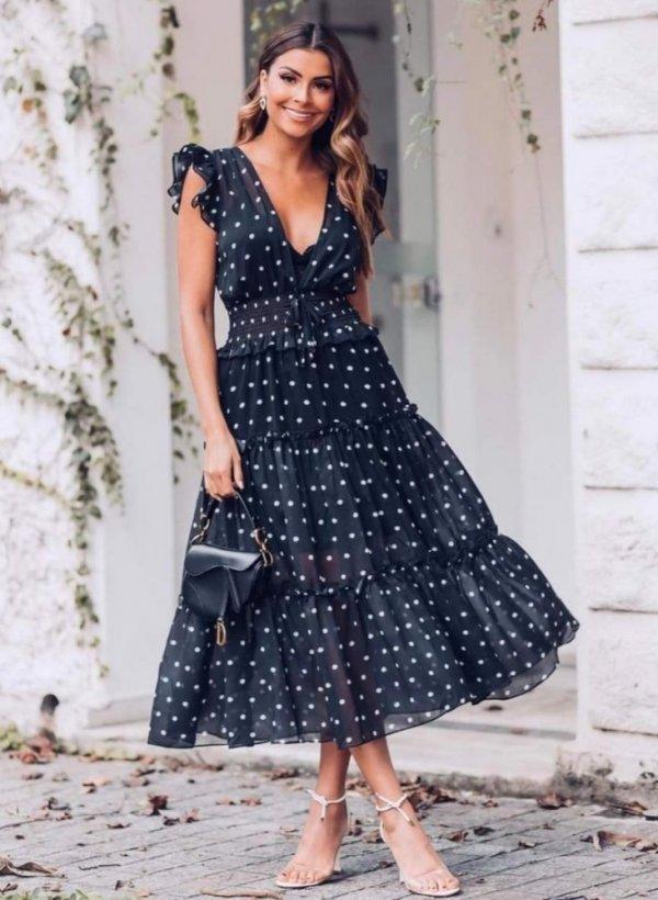 Sukienka w groszki Cerviac ciemny granat