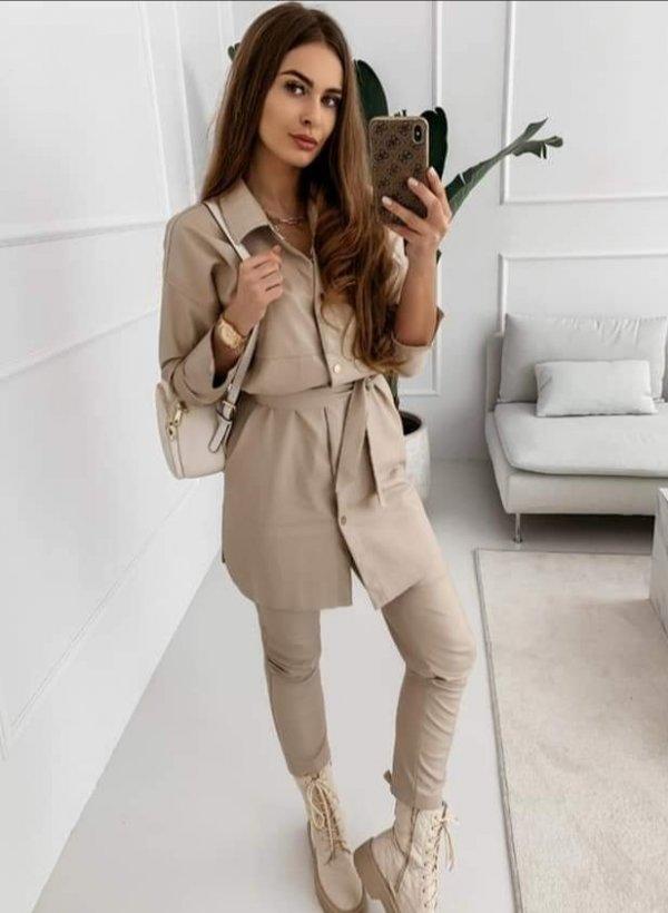 Sukienka z eco skórki Ivrea beige