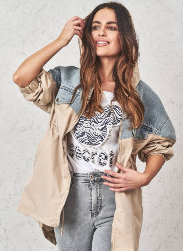 Kurtka-parka z łączonych materiałów beige/jeans
