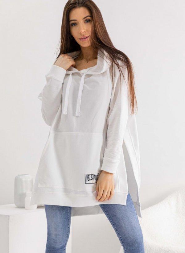 Bluza z kapturem long Velsatino kremowa