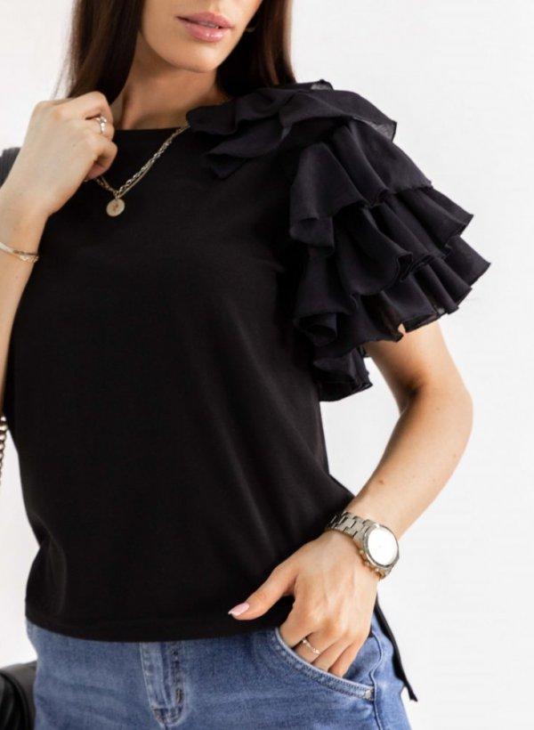 Bluzka z falbankami Lolita czarna
