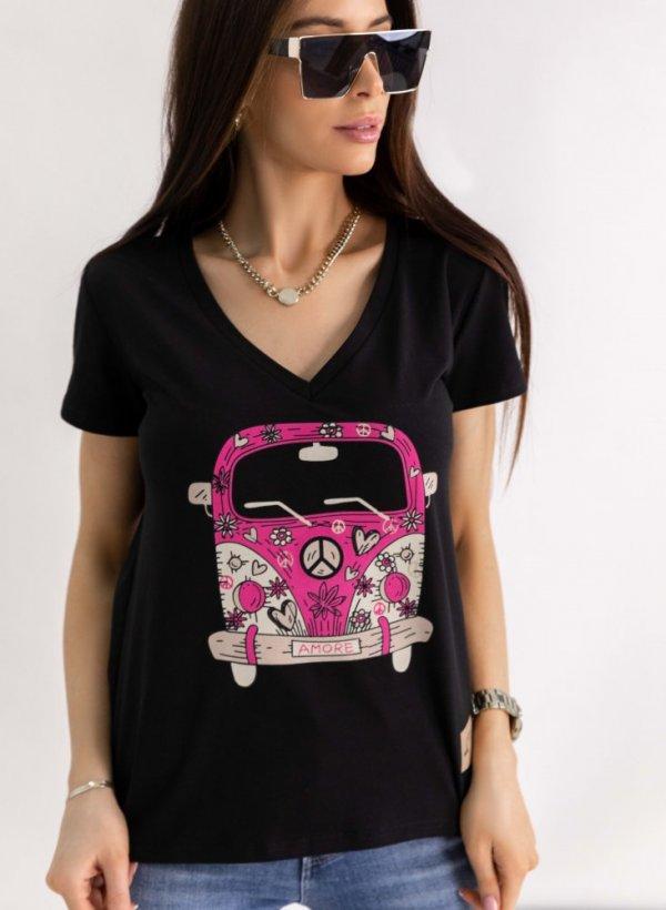 T-shirt Bus Amore czarny