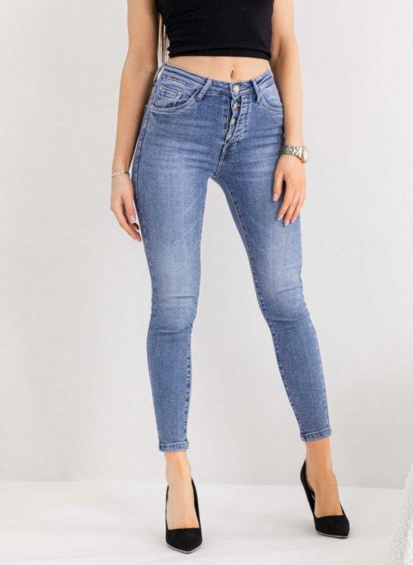 Spodnie na guziki Asymethric skinny blue jeans