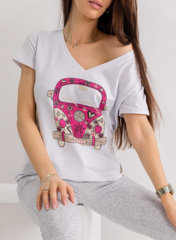 T-shirt Bus Amore biały