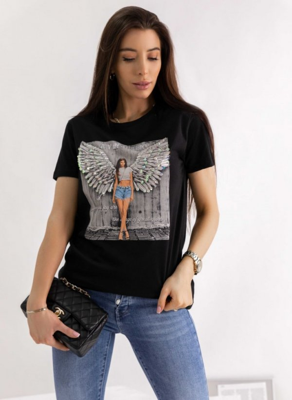 T-shirt Wings czarny