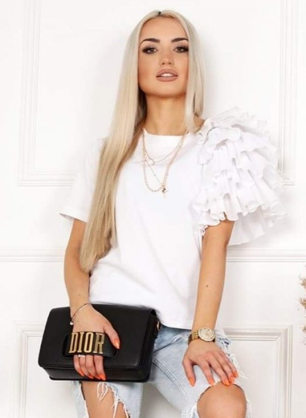 Bluzka z falbankami Lolita biała