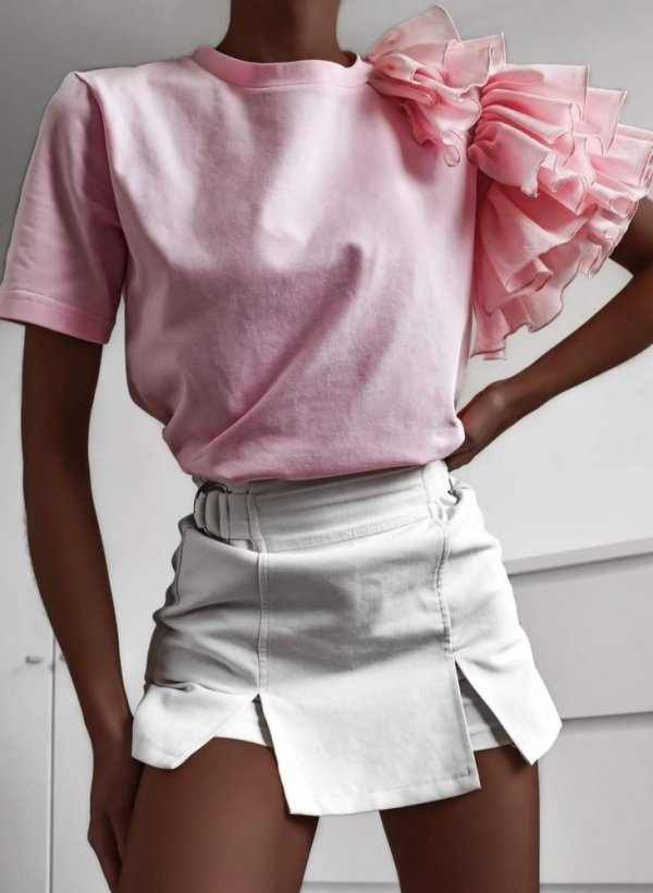 Bluzka z falbankami Lolita róż