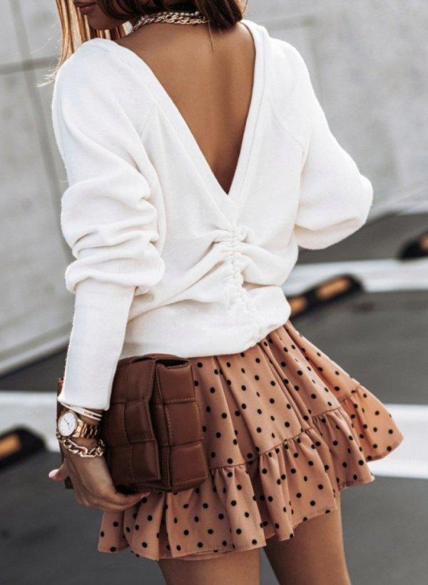 Sweter bluza z drapowanymi plecami Lea ekri