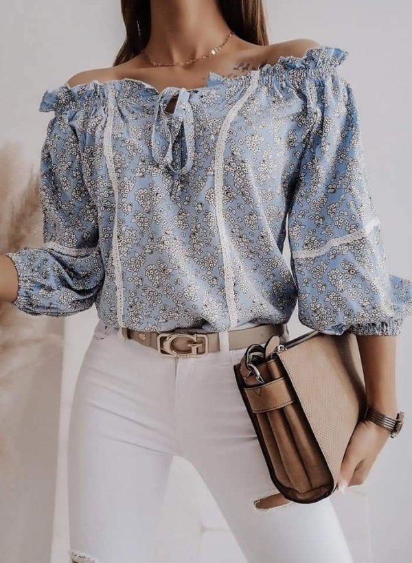 Bluzka hiszpanka w kwiatki Subtelle niebieska