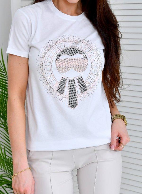 T-shirt Karla cyrkonie biała