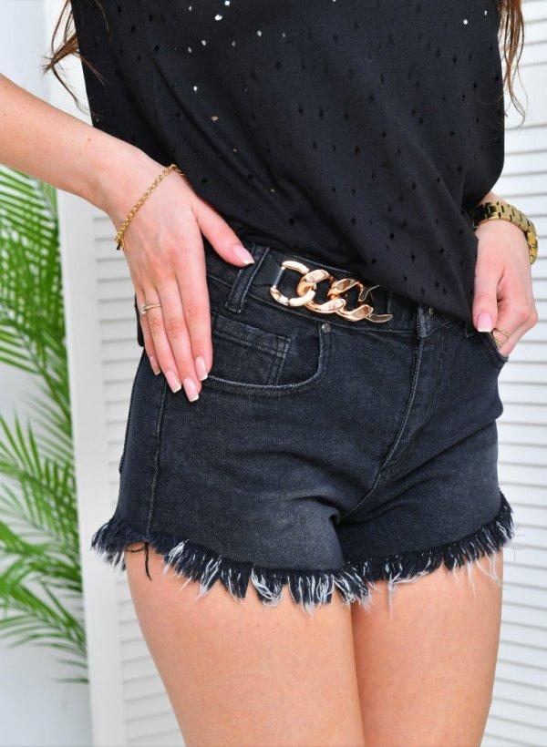 Szorty jeansowe postrzępione Lora z łańcuchem