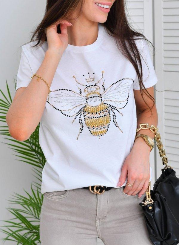 T-shirt Owad cyrkonie biały