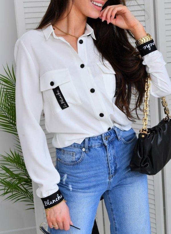 Koszula elegancka Amelia z logo krem