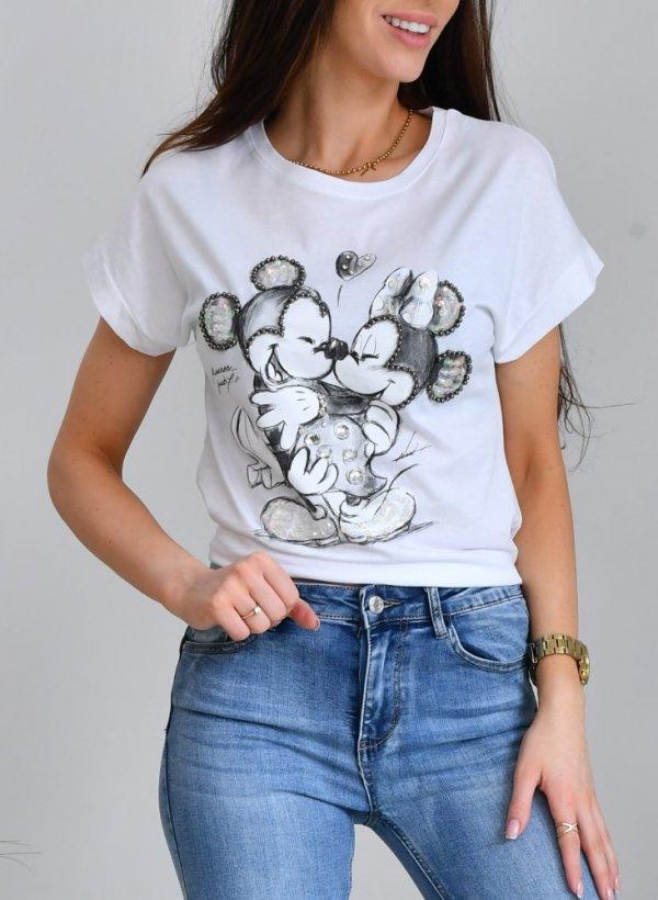 T-shirt Myszki koraliki biały