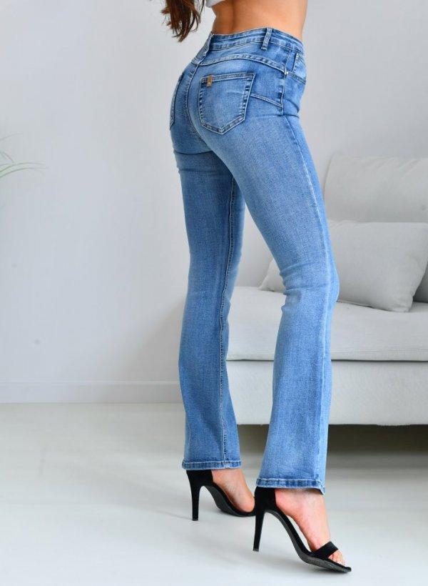 Spodnie jeansy dzwony Push up blue