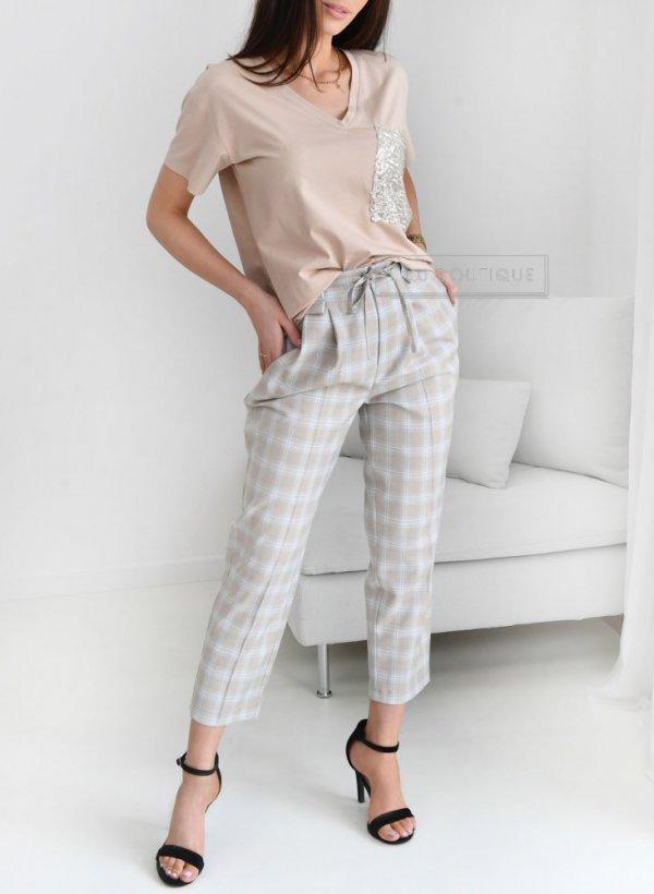 Spodnie eleganckie Picardy krateczka blue/beige