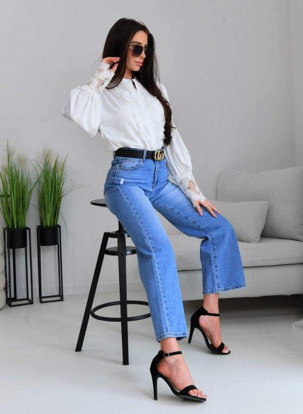 Spodnie jeansowe szerokie dzwony Reno blue