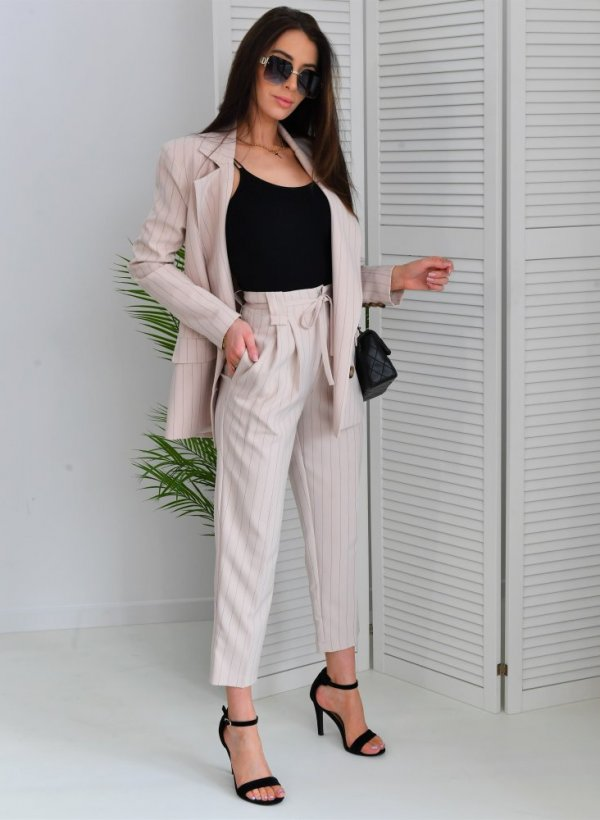 Spodnie eleganckie Picardy paski beige