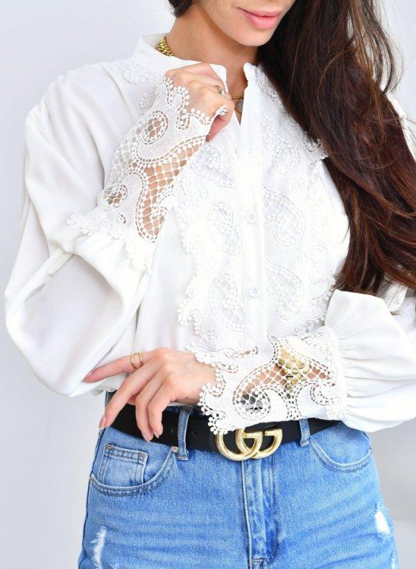 Bluzka elegancka koronka gipiura Milady krem