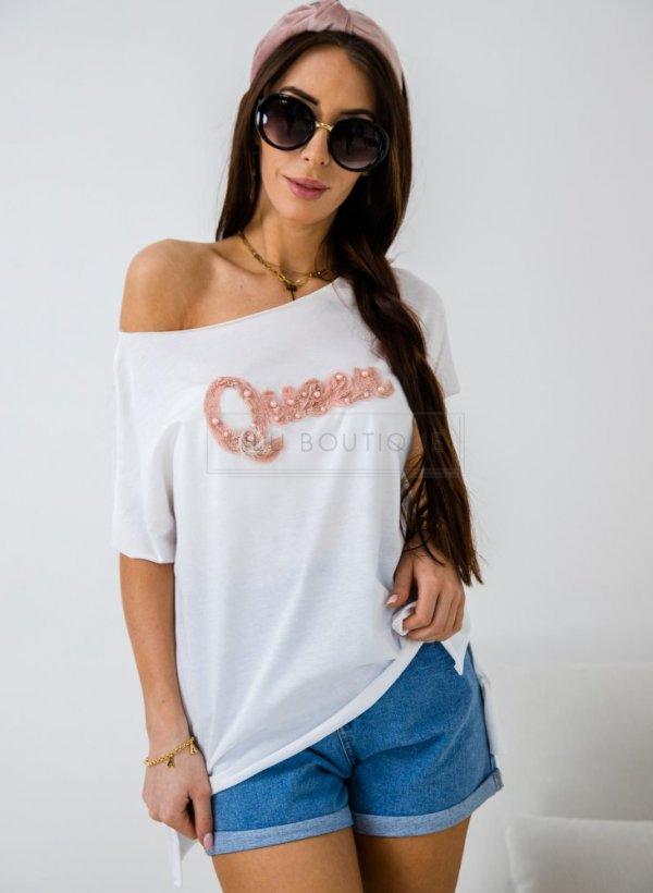 Bluzka oversize Queen biała