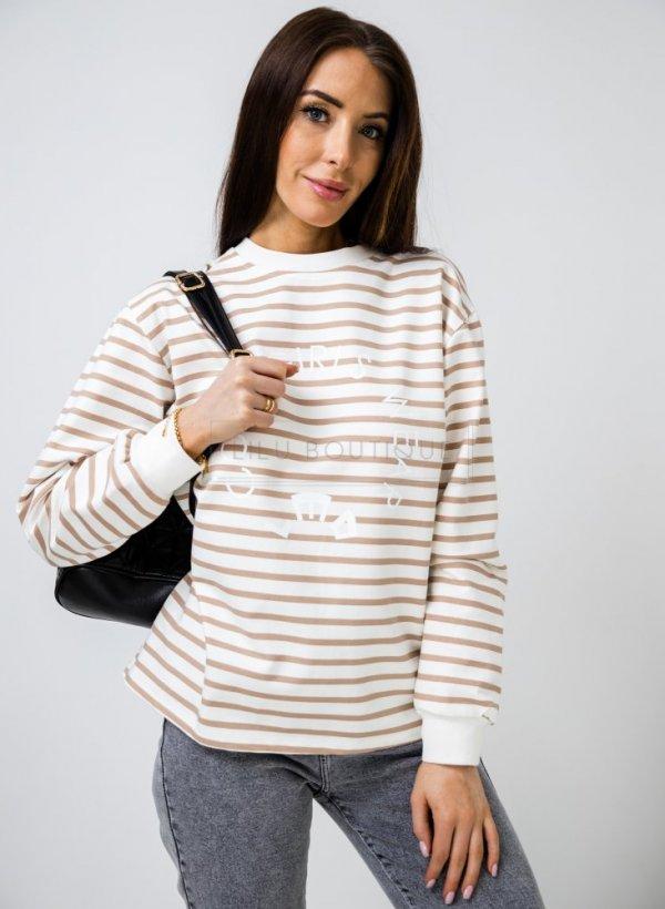 Bluza w paski Cool Girls beige/cream