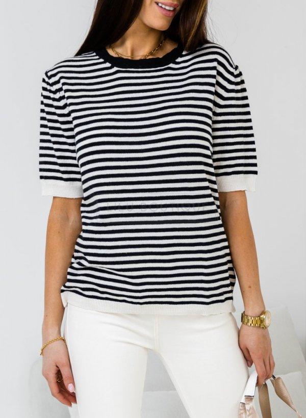 Bluzka sweterkowa w paski black/cream