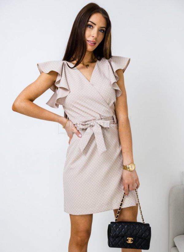 Sukienka Delicate w groszki beż