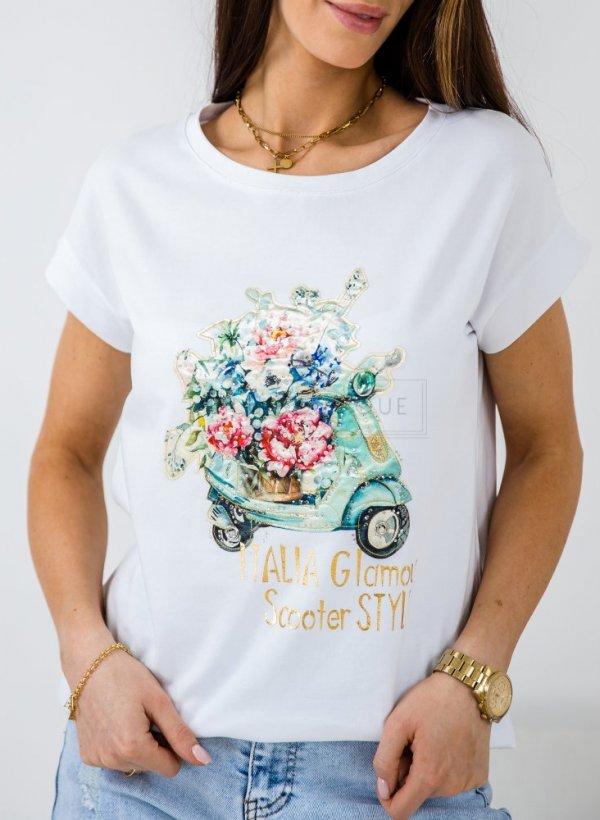 T-shirt/bluzka Italia biała