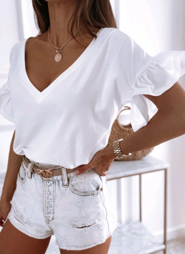 Bluzka z falbankami Boscone V-neck biała