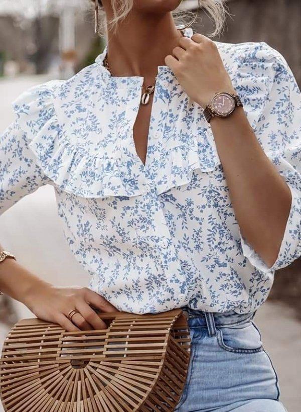 Bluzka z falbankami Setta flower blue