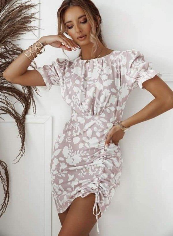Sukienka ze ściągaczem Cecina róż/krem
