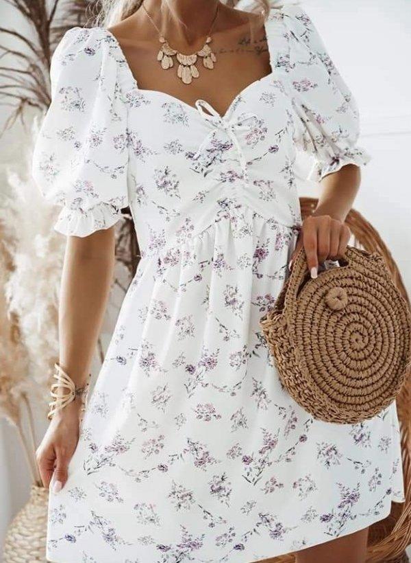 Sukienka z bufkami Biella w kwiatki kremowa