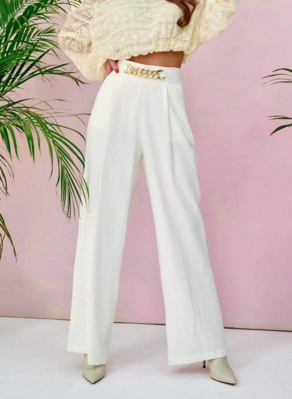 Spodnie z szeroką nogawką i łańcuchem kremowe