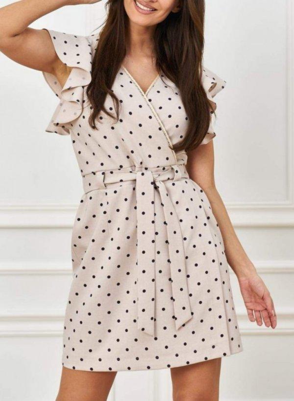 Sukienka Delicate w groszki beżowa