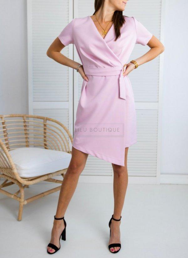 Sukienka Mia różowa z paskiem