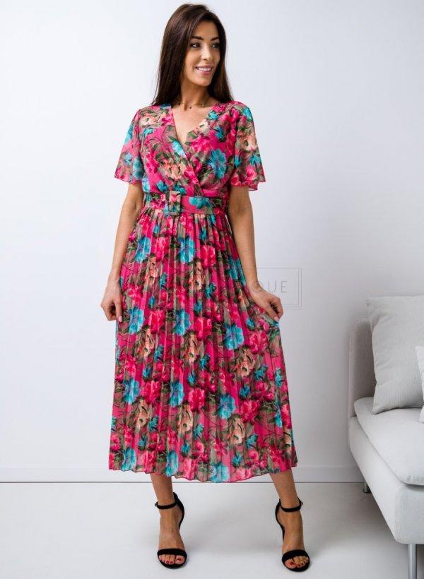 Sukienka plisowana w kwiaty Nova róż