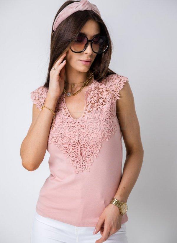 Top/bluzka bawełna z koronką Mizzy II brzoskwiniowa