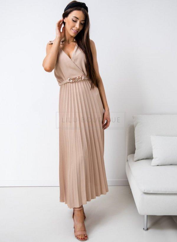 Sukienka plisowana z łańcuchem Bella beż