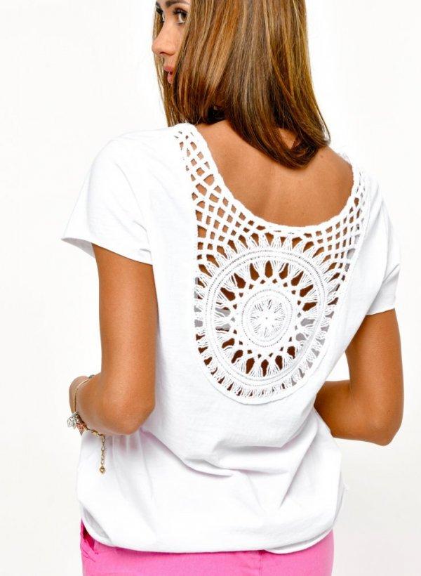 T-shirt z ażurkiem na plecach Cece biały