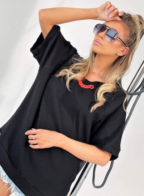 Bluzka prążkowana z łańcuszkiem Cute czarna